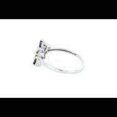 Кольцо Цветик-Семицветик с бриллиантом и топазом, аметистом, хризолитом, цитрином, гранатом, белое золото