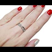 Кольцо обручальное с бриллиантами Лепестки Королевской Лилии, белое золото, 750 пробы