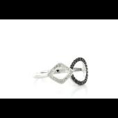 Кольцо Круг и Квадрат с чёрными и белыми бриллиантами, белое золото