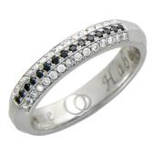 Кольцо, белое золото, три дорожки бриллиантов, гравировка Вместе Навсегда 4.5мм