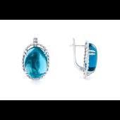 Серьги с голубым овальным алпанитом кабошон, серебро