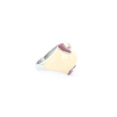 Кольцо Собачка Пес с фианитом и эмалью, серебро