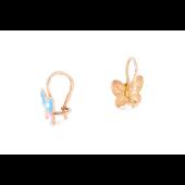 Серьги детские Бабочки с розовой и голубой эмалью, красное золото