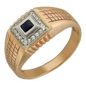 Мужское кольцо широкая шинка, фианиты и гранат красный, красное и белое золото