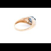 Кольцо с топазом Лондон и фианитами, красное золото