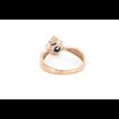 Кольцо с бриллиантом и сапфиром, красное золото