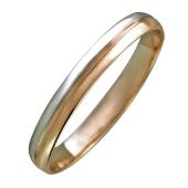 Обручальное кольцо двусплавное, красное и белое золото 3.5мм