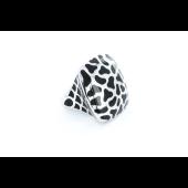 Кольцо без камня с каучуковыми вставками, серебро