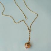 Колье на якорной цепи подвеска Шар с бриллиантами и рубином, красное золото