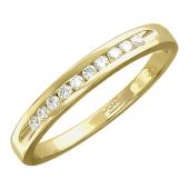 Кольцо Дорожка с бриллиантом, желтое золото 750 проба
