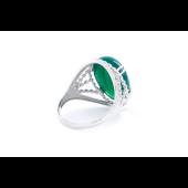 Кольцо Перстень с овальным зелёным ониксом, серебро