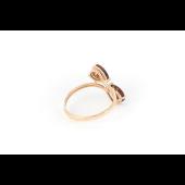 Кольцо Капли с гранатом, красное золото