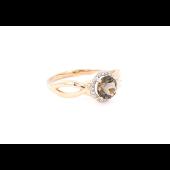 Кольцо Принцесса с раухтопазом и фианитами, красное золото