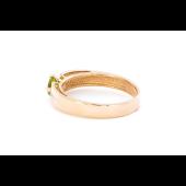 Кольцо с хризолитом и фианитами, красное золото