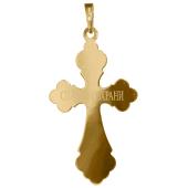 Крест православный, желтое и белое золото 74,8 мм