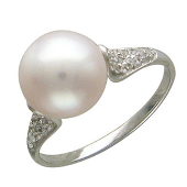 Кольцо, белое золото, белый жемчуг, дорожка фианитов