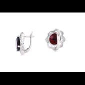 Серьги Цветок с гранатом и прозрачными фианитами, серебро