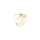 Подвеска буква Т в сердце с фианитами, красное золото