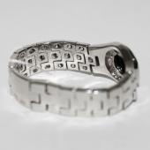 Кольцо мужское мягкое с бриллиантами и круглым ониксом в центре, белое золото 585 пробы