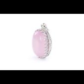 Подвеска с овальным розовым ониксом, серебро
