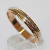 Кольцо обручальное, красное и белое золото, ширина 4,60 мм