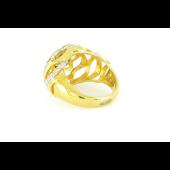 Кольцо Мистика с аметистом, фианитом и золотым покрытием, серебро