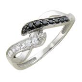 Кольцо Восьмерка с черными и прозрачными фианитами, белое золото 585 пробы