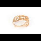 Кольцо Сердечки с рубиновыми фианитами из красного золота
