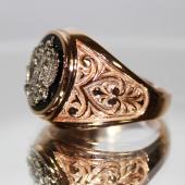 Мужское кольцо с гербом, оникс черный, Двуглавый орел, красное и белое золото 585 проба