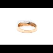 Кольцо мужское с бриллиантом, красное и белое золото