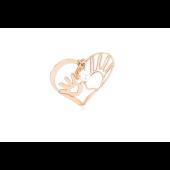 Кулон Сердце с ладошками и фианитами, красное золото