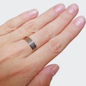Кольцо обручальное с молитвой Отче Наш, чернение, красное золото 6мм