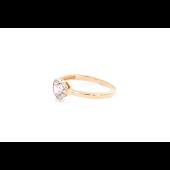 Кольцо Сердце с розовым и прозрачными фианитами, красное золото