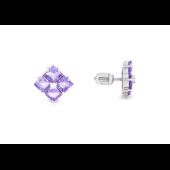 Пуссеты с квадратными аметистами и фианитом, серебро