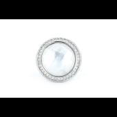 Кольцо с фианитами и круглым перламутром, серебро