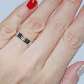 Кольцо обручальное с двумя канавками, белое золото 4.2мм