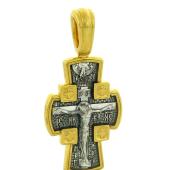 Крест православный Распятие, на оборотной стороне Ангел Хранитель, серебро с золотым покрытием