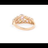 Кольцо с топазами, цитринами, аметистами и хризолитами, красное золото