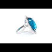 Кольцо с голубым алпанитом кабошон и фианитами, серебро