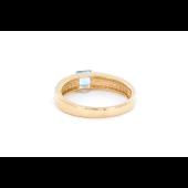 Кольцо с квадратным топазом и фианитом, красное золото
