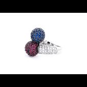 Кольцо Шары с прозрачными, синими и красными фианитами, серебро