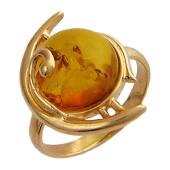 Кольцо с большим круглым янтарем, красное золото