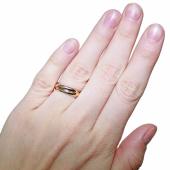 Кольцо тройное крученое, белое красное желтое золото, h=2,6mm
