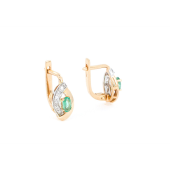 Серьги с бриллиантом и изумрудом, красное золото