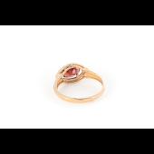 Кольцо с гранатом и фианитом, красное золото 585 проба