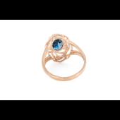 Кольцо с овальным топазом Лондон и фианитами, красное золото