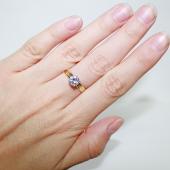 Кольцо для помолвки с фианитом бриллиантовой огранки, желтое золото