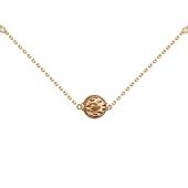 Колье Азия на якорной цепи с подвеской Шар, бриллианты, красное и белое золото