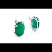 Серьги с зеленым ониксом, серебро
