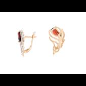 Серьги Перо Павлина с гранатами и фианитами , красное золото
